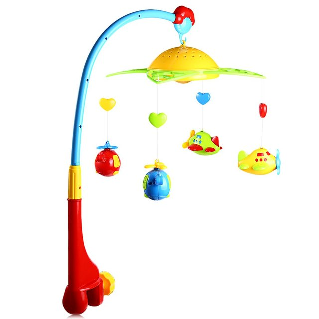 2016 New Arrival Baby Musical Star Projection Hanging Bell Crib Rattle Toy Baby Play Activity Music Light Flash Bed Ring