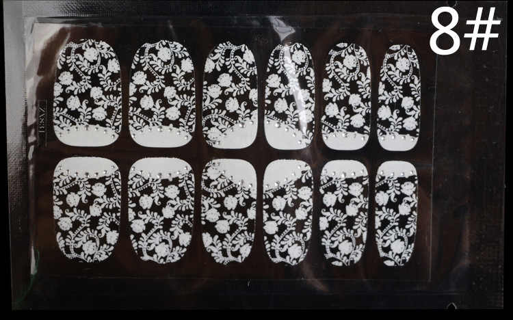 ใหม่3Dลูกไม้เล็บเคล็ดลับสติกเกอร์รูปลอกเต็มห่อGlitters DIYตกแต่งสติ๊กเกอร์ออกแบบเล็บสติ๊กเกอร์