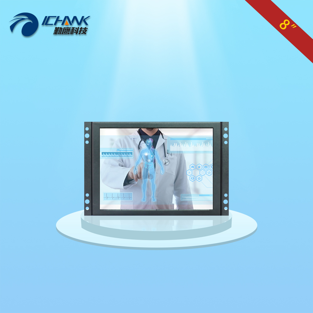 ZK080TC-2660/8 inch 1024x768 4:3 HDMI VGA USB Metal Shell Case Embedded Open Frame Resistance Touch LCD Screen Display Monitor 8 4 8 inch industrial control lcd monitor vga interface metal shell open frame non touch screen 800 600 4 3