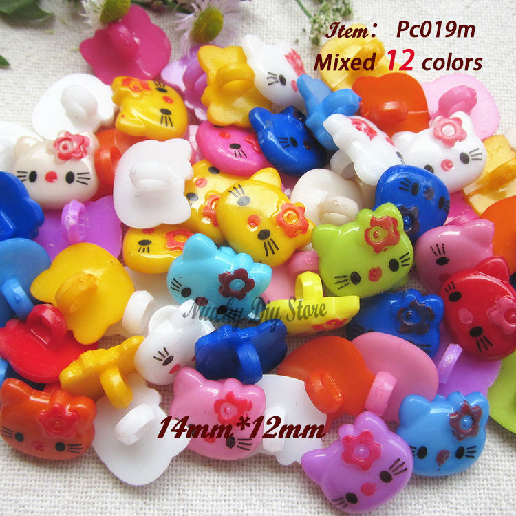 120pcs/lot Mixed 12 colors kitty buttons for child craft buttons scrapbook material bulk craft supplies wholesale