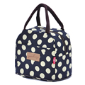 Multicolor Waterproof Canvas Lunch Bags Portable Dot Lunch Bag for Take-away Food Picnic Office Terma Bag Lunch Box Zipper Tote