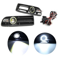 LED Fog Lights Front Bumper Grille Grill Cover With Angel Eyes Lamp Foglight Kit For VW