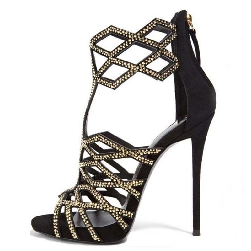Geometric Laser Woman Sandals Crystal Embellished Cut-out High Heels Dress Shoes 2018 Newest Back Zipper Cage Shoes Gold Black scallop laser cut dress