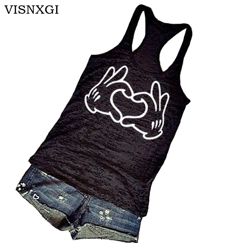 VISNXGI Summer Fitness   Tank     Tops   Hands Love Plus Size 5XL Women Sleeveless O-neck   Tops   Fashion Camis Ladies Clothing Basic Vest