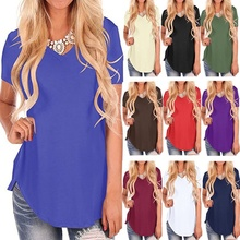 ZOGAA Summer T Shirt Women Solid Top Short Sleeve V Neck Ladies Casual Loose Cotton Plus Size Feminina shirt