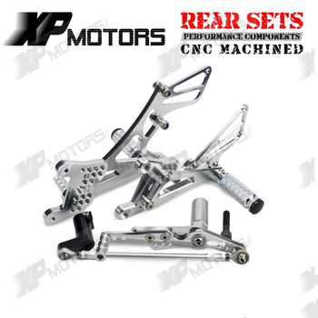 H2CNC Racing Motorcycle Foot Pegs Foot Rest Footrests Pedal Rear Sets For Yamaha YZF-R1 YZFR1 2007 2008 YZF R1 Adjustable Billet