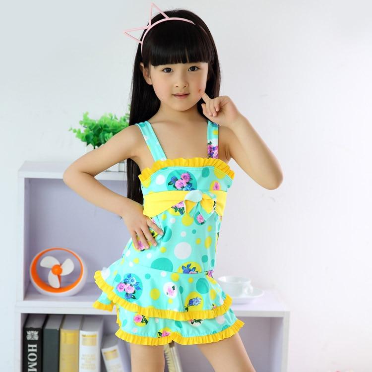Hot Kids Swimsuit 3 10Y Girls Swim Butterfly knot skirt ...