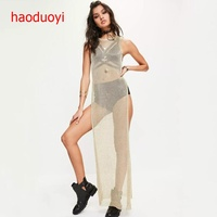 HDY Haoduoyi Newest Fashion Women Gold Knitted Long Dress Sexy High Open Perspective Club Dress Summer