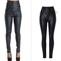 Hot Sexy Women Leather Pants Long High Waist Plus Size Bandage Designer Leather Pants For Women Single-breasted Pants Lady S2843