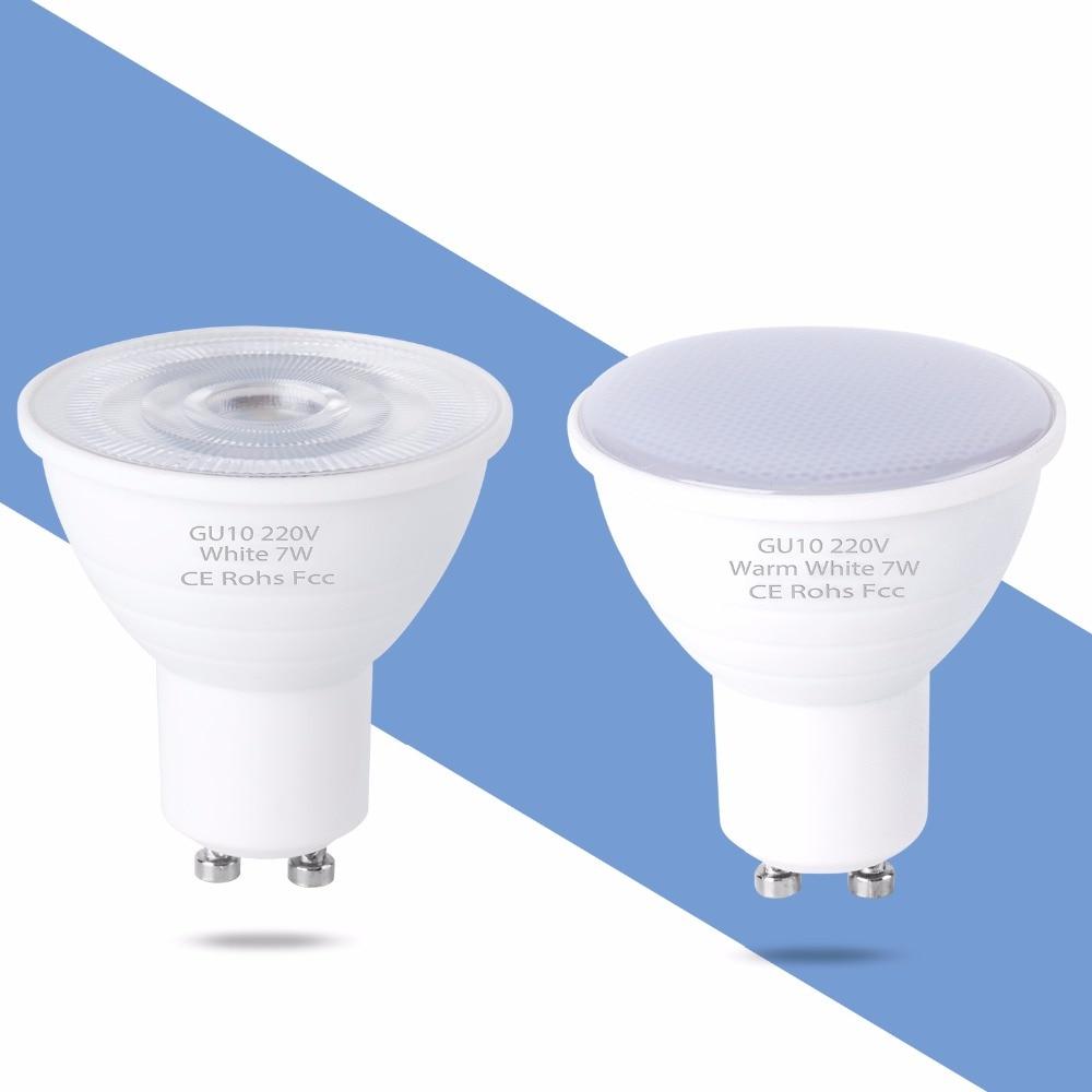 GU10 LED Lamp MR16 LED Bulb Plastic Aluminum 5W 7W GU5 3 Bombilla LED Spotlight 220V 2835 Spot Light Bulb Indoor Lighting 110V in LED Bulbs Tubes from Lights Lighting