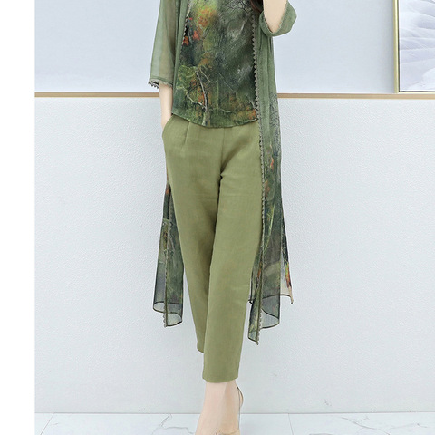 Summer Green Chiffon Printed 3 Piece Sets Women Plus Size Vest+cardigan+cropped Pants Suits Elegant Korean Womens Sets Femme Karachi