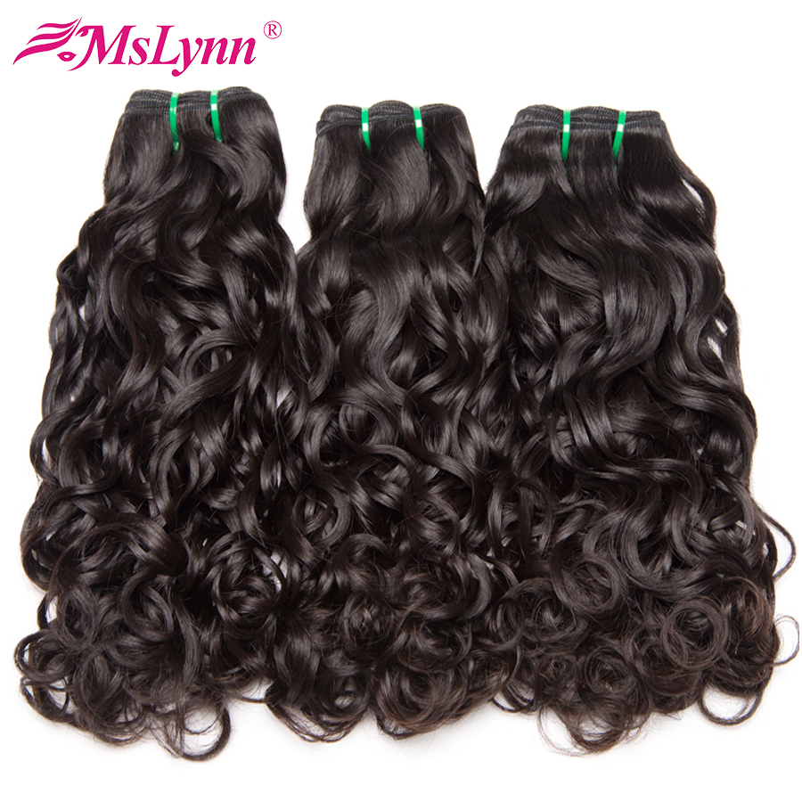 Mslynn Brazilian Water Wave Bundles Deals Human Hair Weave 3 Bundles Natural Color Non-Remy Hair Extensions Weft 10-28 Inch 3 PC