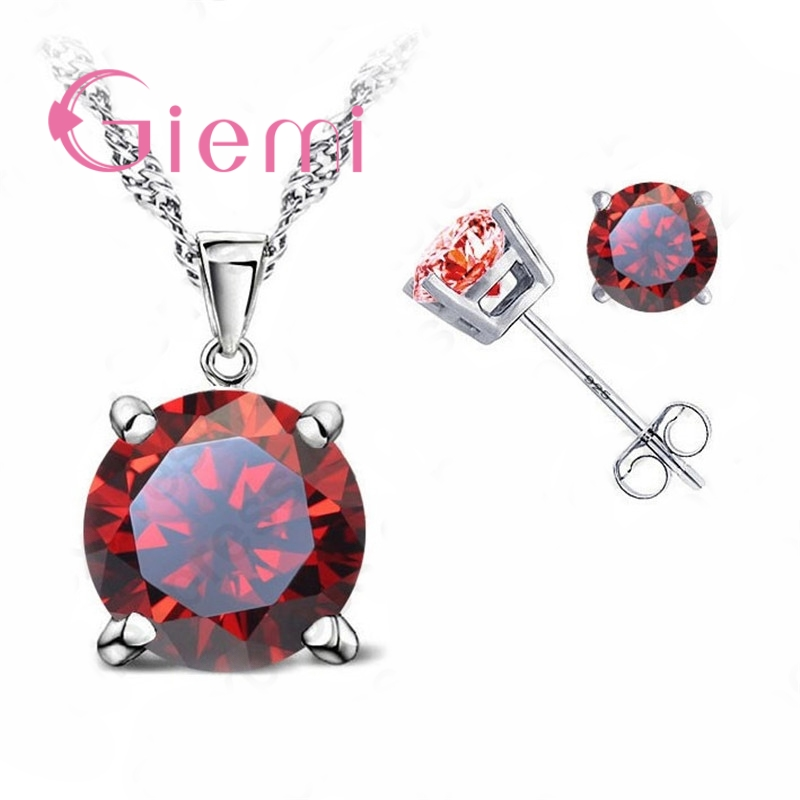 Pure 925 Sterling Silver Women Accessories Wholesale High Quality Jewelry Cubic Zirconia CZ 4 Claws Stud Earrings 8 Colors 2