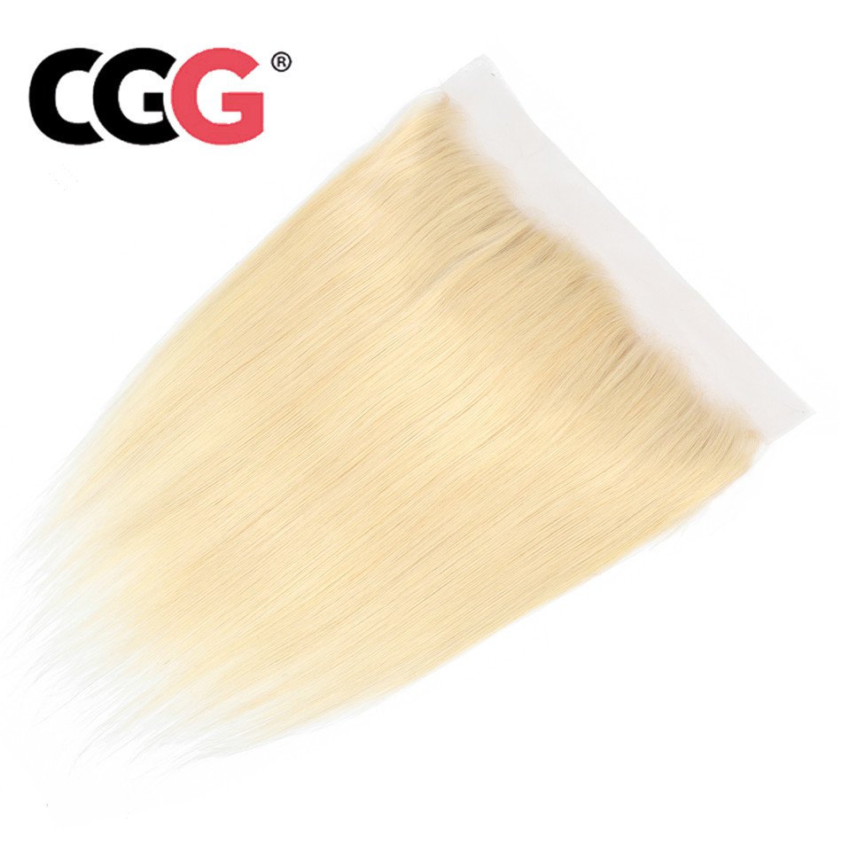 CGG Closure Lace-Frontal Blonde Human-Hair Mongolian Color 613 Straight Pre-Plucked Non-Remy