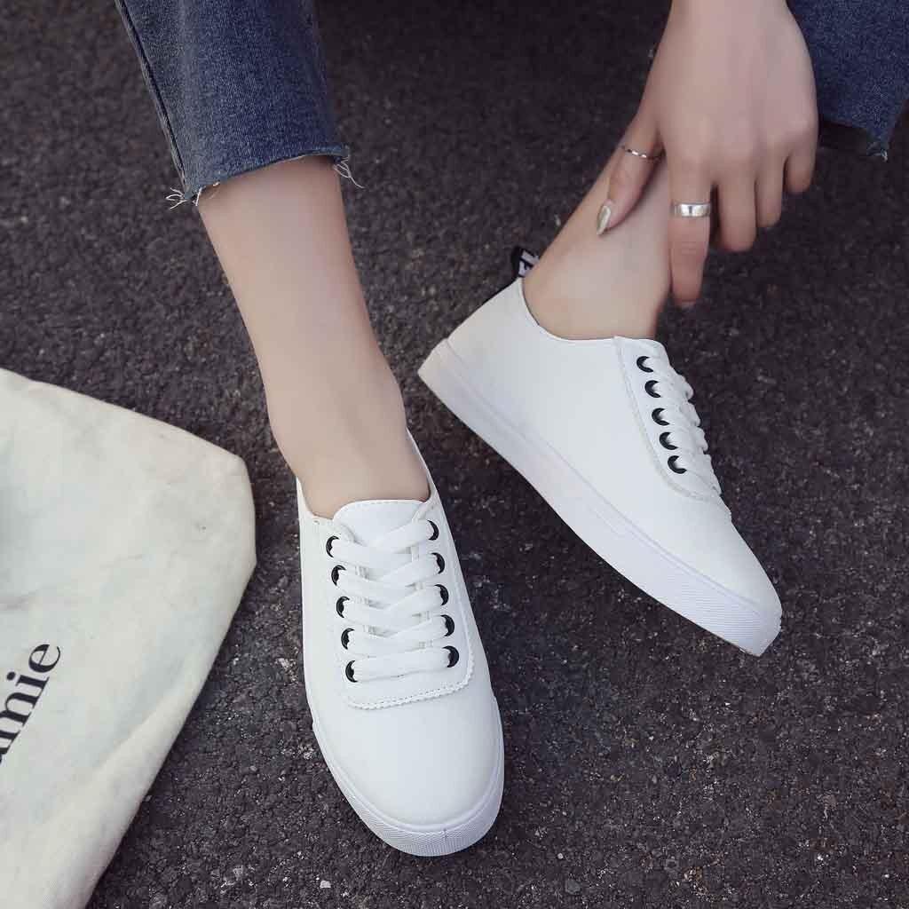 6261faa258597 Cuir Noir En La Sneakers Feminino Jusqu'à Dentelle Plat Casual Blanc Tenis Chaussures  forme Plate rouge Femmes ...