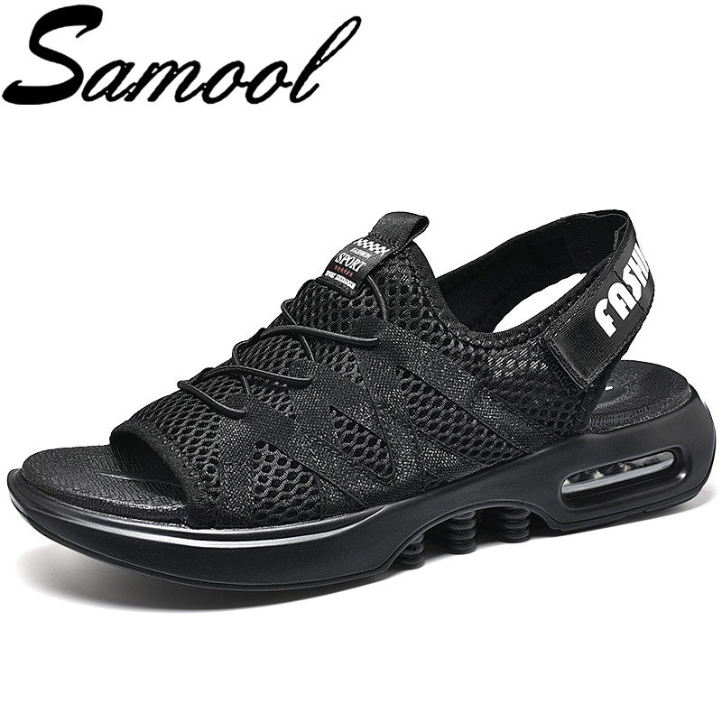 Summer Fashion Men Open Toe Mesh Sandals Hollow Light Breathable Beach Sandals Outdoor Slip on Male Sneakers Zapatos Hombre Sx3