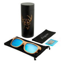 AngcenNew sunglasses fashionable bamboo legs carved ladies polarized sunglasses high-end men's UV400 bamboo glasses fashionable blue polarized lens bamboo frame sunglasses