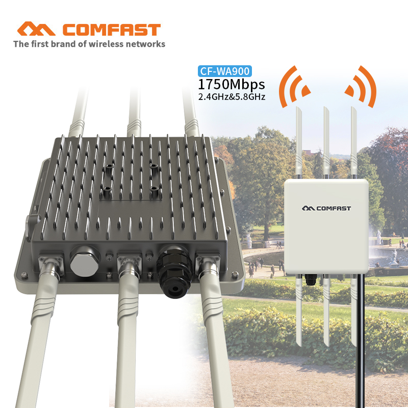 Comfast WA900 High Power Outdoor Wifi Repeater 2.4G 450Mbps+5GHz 1300Mbps Wireless Wifi Router AP WISP Extender Cover station outdoor wifi repeater 2 4gwireless wifi amplifier with ap wisp 27dbm wifi router high power wifi extender base station ap