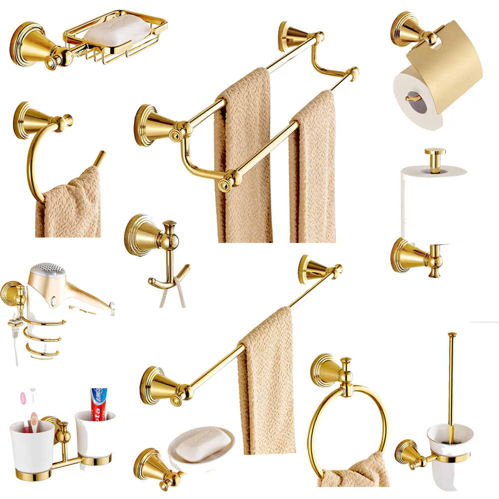 Gold Finish Brass Bathroom Hardware Set Toilet Paper Holder Toothbrush Holder Towel Bar Wall Mounted Bathroom Accessories Set image