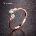 NEWBARK Rose Gold Plated Fashion Design Twin Zirconia CZ Engagement Wedding Band Ring For Woman And White Gold Plated Gifts