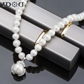free shipping Freshwater Pearl Necklace set 100% Natural For Women Hot Sale ENJOY White flower pendant