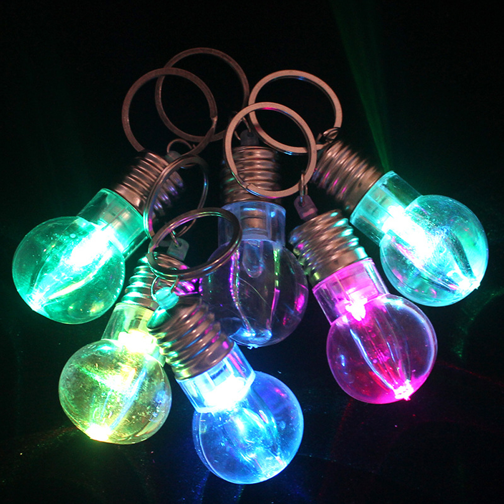 Mini Colorful LED Flash Bulb With Keychain Light Up Toy Creative Keyring Bulb Party Toys For Children Funny Bag Decoration Gift