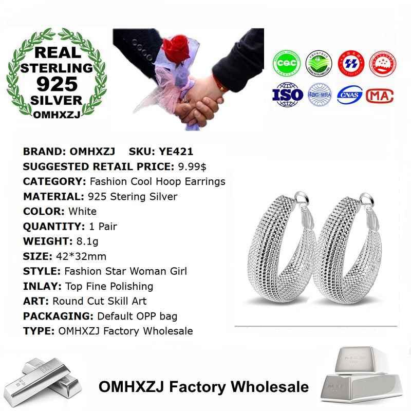 OMHXZJ ขายส่งบุคลิกภาพแฟชั่น OL ผู้หญิงสาวงานแต่งงานสีขาวรอบ 925 เงินสเตอร์ลิง Hoop ต่างหู YE421
