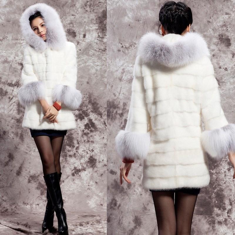 Femmes Manteau Blanc De Capuche Décontracté Veste En Pull Vêtements Pardessus Renard Fausse Long Pour Taille 2018 O cou Dessus Grande Hiver Fourrure À 5xl qg0wft