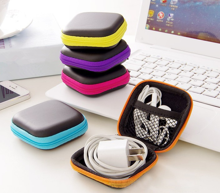 Portable Earphone Case with Zipper Headphone Box Carrying Hard Case for Earphones SD Card Hold Case Storage Box -50