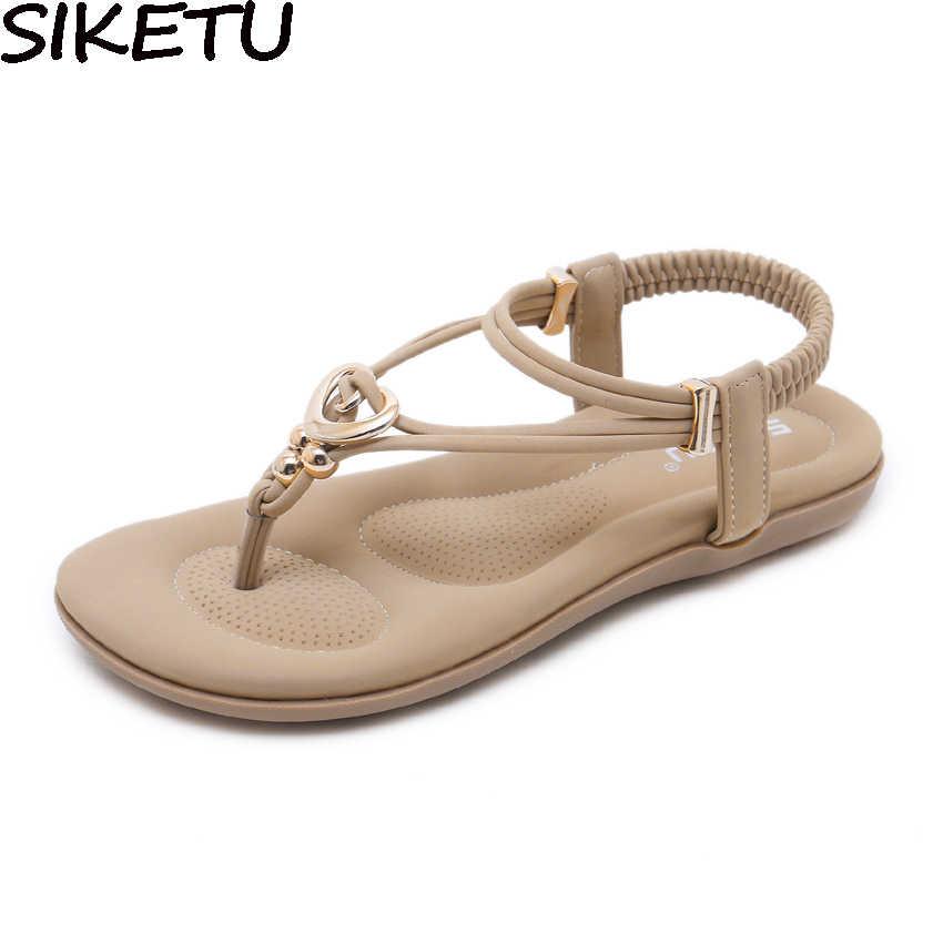 aa714a914e56 SIKETU Casual Shoes Flats Bohemia Ethnic Sandals Women Flip Flops Comfort  Soft Shoes String Bead Metallic