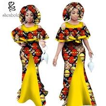 2017 vestidos africanos para las mujeres de cera de impresión ropa de tela de ankara vestido de moda ropa tradicional africana más el tamaño XS-5XL