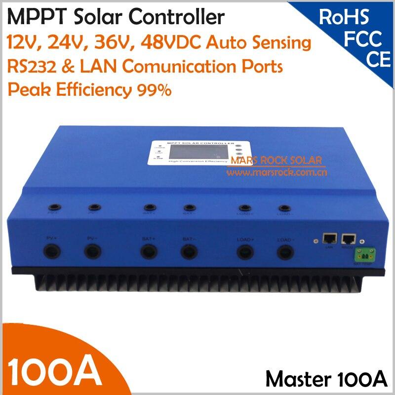 Синий 100A 12 В 24 В 36 В 48 В автоматическое распознавание MPPT Контроллер заряда с большим ЖК дисплей экран и RS232 LAN Коммуникационные порты