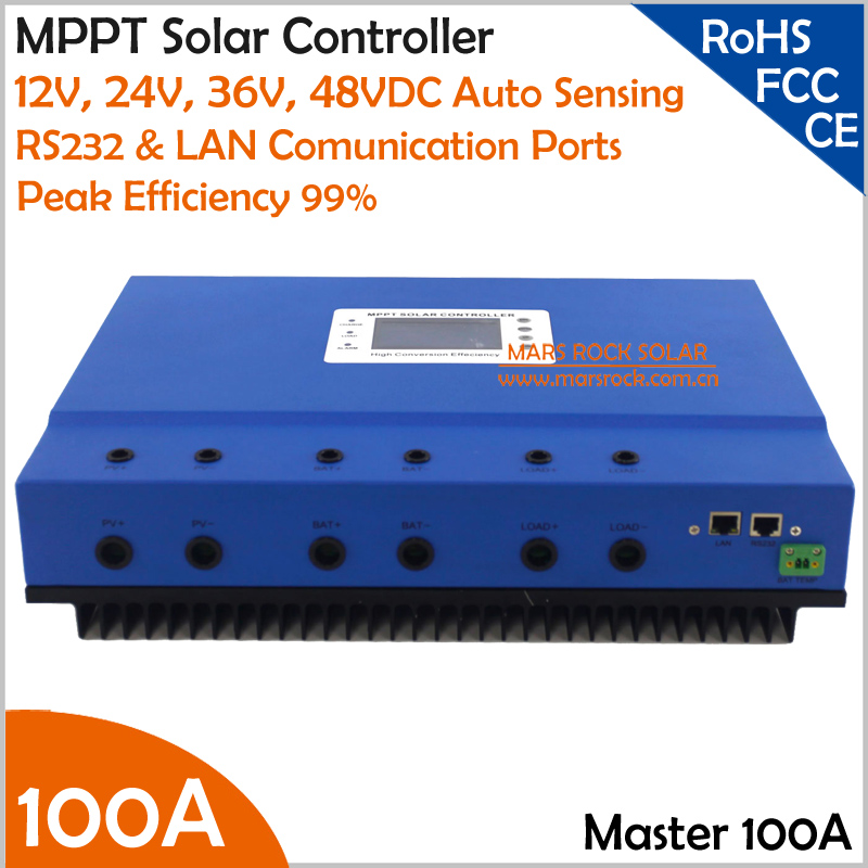 Blue 100A 12V 24V 36V 48V auto recognition MPPT Solar Charge Controller with big LCD screen and RS232 LAN communication ports auto 12 24 36 48v system 100a 150vdc self sooling high intelligent solar mppt charge controller with rs232 and lan communication