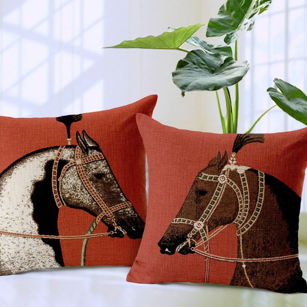 horse pillow cover cartoon european court style animal red horse crown throw pillow case pillowcase wholesale