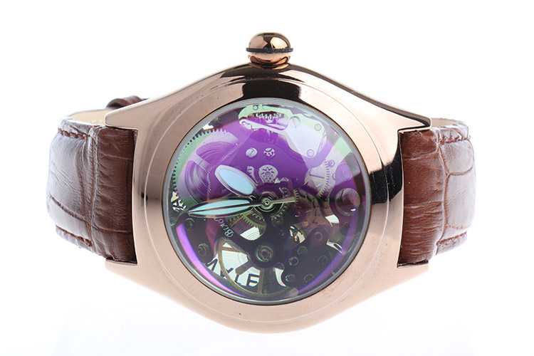 BIAOKA Blue convex glass Hollow Engraving Leather Steel Skeleton Mechanical WatchesClock Men Brand Heren Horloge Montre