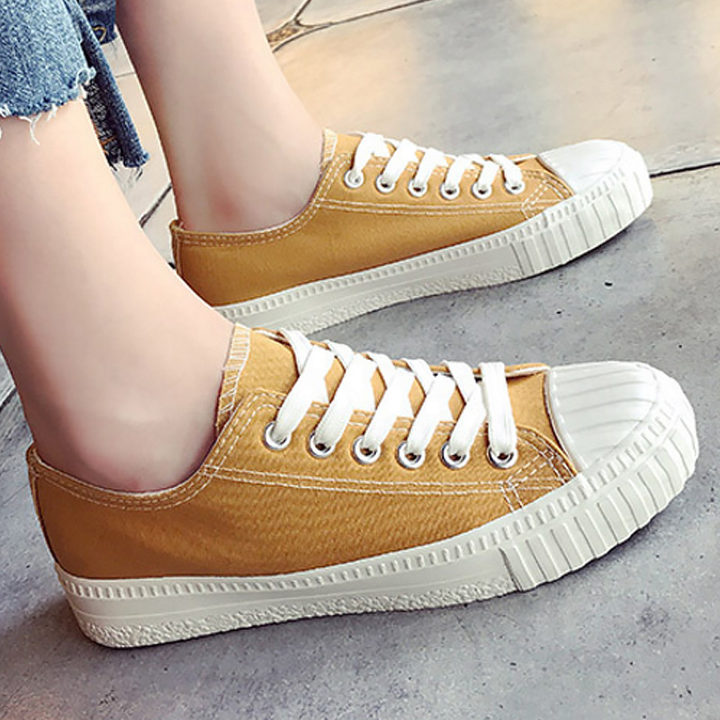 Women casual shoes solid shallow simple style canvas sneakers for girls flat non-slip flat shoes 2018 fashion spring