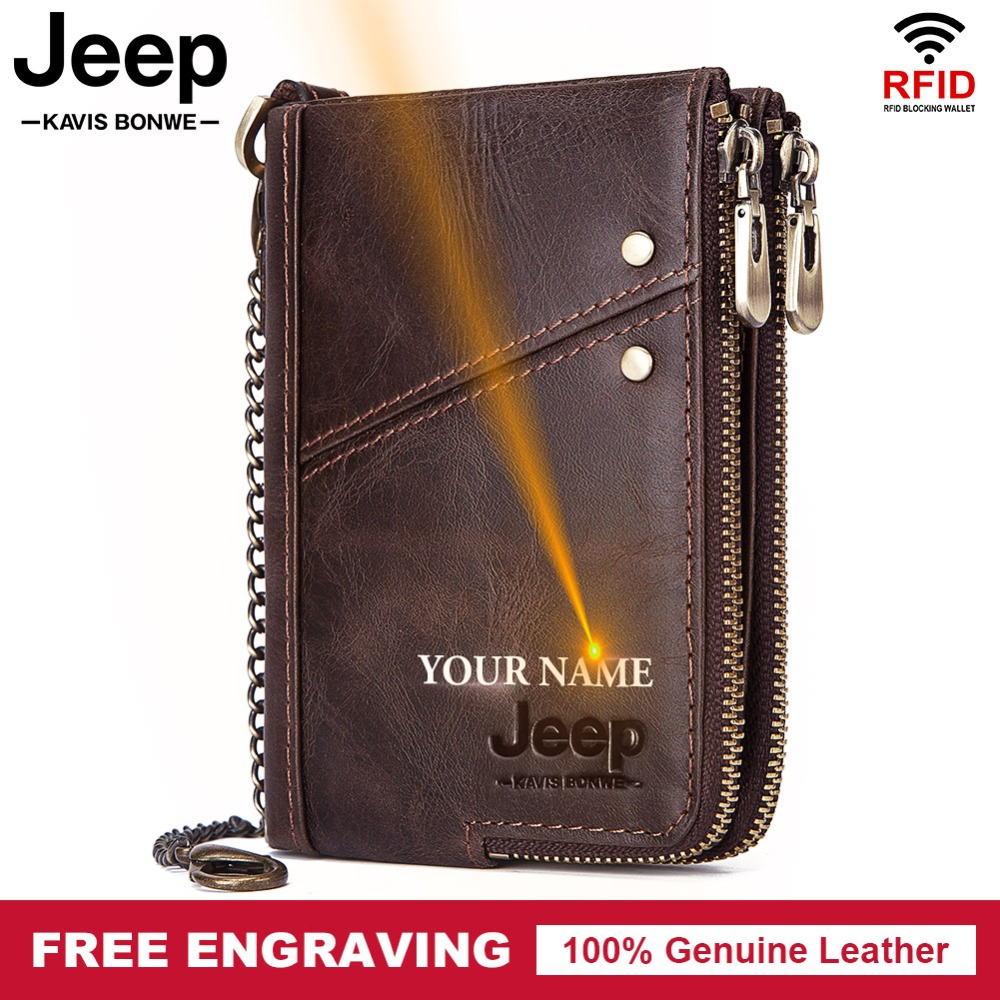 Free Engraving Cowhide Genuine Leather Wallet Men Coin Purse Small Mini Card Holder Vintage PORTFOLIO Portomonee Male Chain