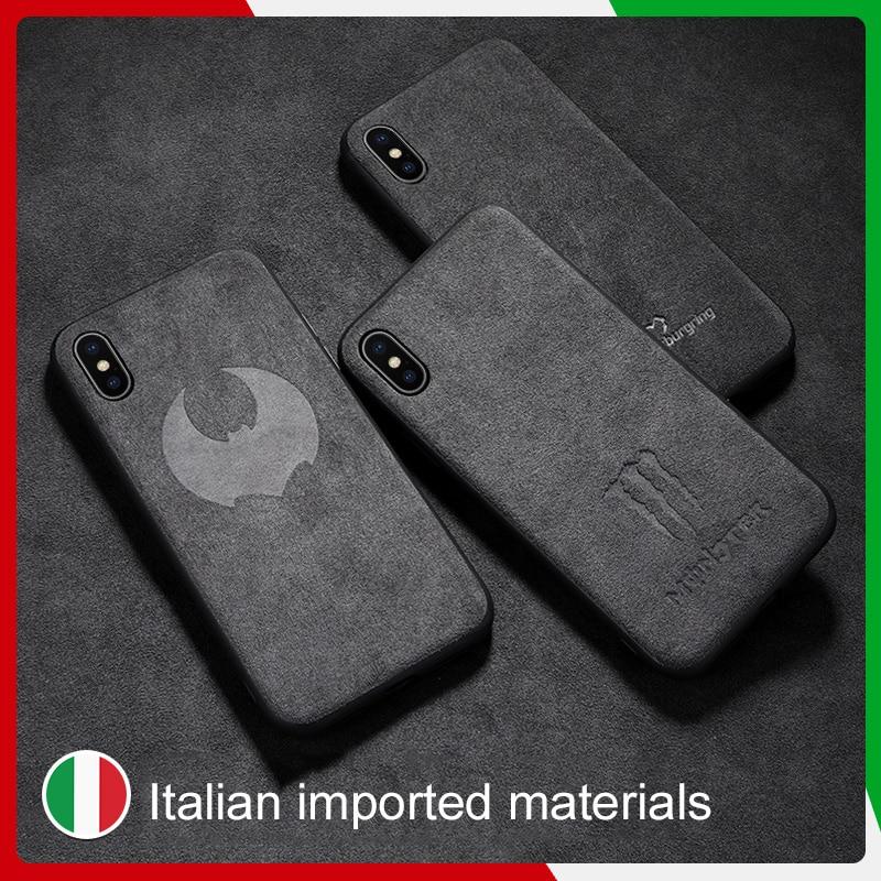 SanCore iPhone X XR Xs max telefon Fall Leder ALCANTARA fasion Business tpu leder luxus premium handy shell Fall N