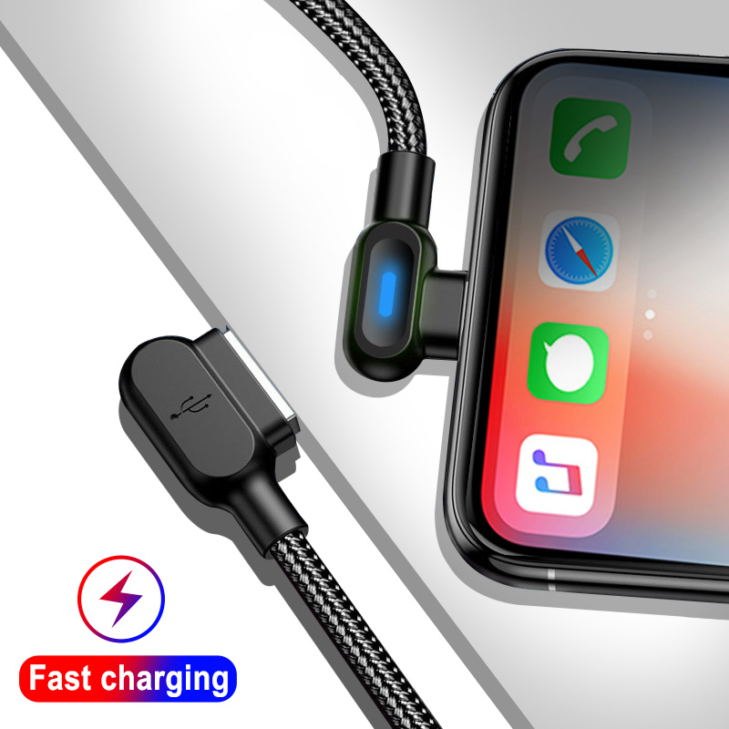 OLAF Micro USB Type C 1M 2M Fast Charging 90 Degree Cable For Samsung S8 S9 S10 Xiaomi Huawei Microusb USB-C Charger Cord Kabel 1