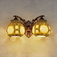 Chinese Style Retro Ceramic Wall Lamps 220V Loft Home Lighting Double Headed Multicolored Apples Ceramic Vintage