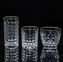 High-grade Golden Rim Hammer Pattern Drinking Tea Glass Cup New Drink Insulated Clear Glasses Whiskey Drinkware LFB362