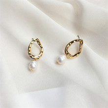 Ms geometric earrings new natural freshwater pearl Contracted girl beautiful delicate gift wholesale