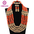 Free Shipping! Marvelous 4 Layers Bridal Real Coral Beads Jewelry Set Gold Plated Dubai Wedding Jewelry Gift CNR719