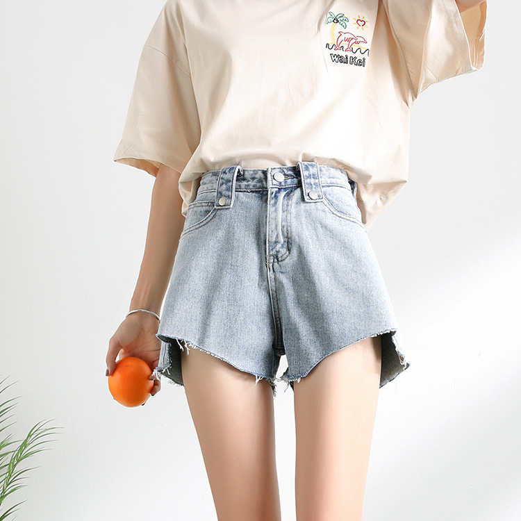 Ultra-court taille haute Jean Shorts femmes 2019 été décontracté irrégulière jambe large coton court Feminino Simple Style TQ1095D