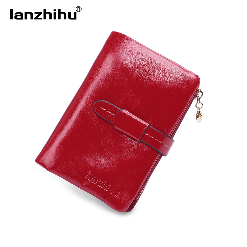 100% Women Genuine Leather Wallet Short Small Oil Wax Cowhide Purse Women's Vintage Lady Leather Clutch Coin Purses Card Holder dollar price new european and american ultra thin leather purse large zip clutch oil wax leather wallet portefeuille femme cuir