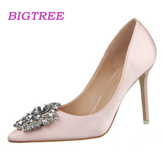 Online Shop BIGTREE Brand Formal Pumps Stone High Heels Satin Shoes In Style  2018 Pumps With Rhinestone Cinderella Shoes Sapatos De Noiva  10a461c1fa88