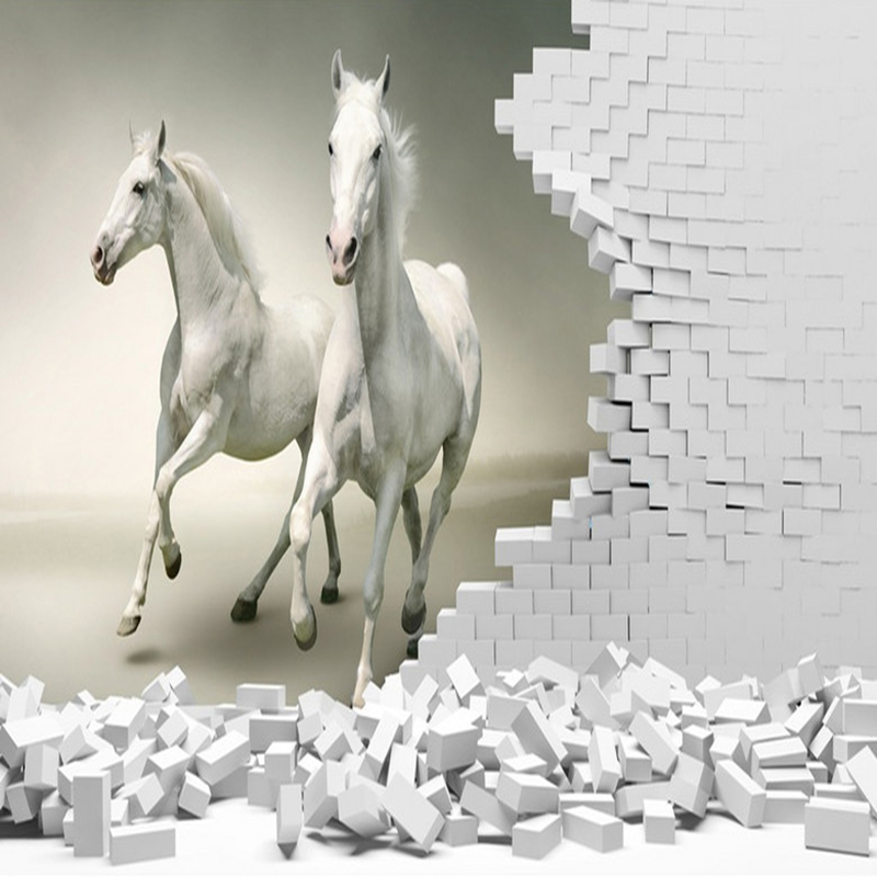 Custom 3D Wall Murals Wallpaper 3D Stereoscopic White Horse Brick Wall Art  Mural Living Room Bedroom Background Papel De Parede In Wallpapers From  Home ... Part 43