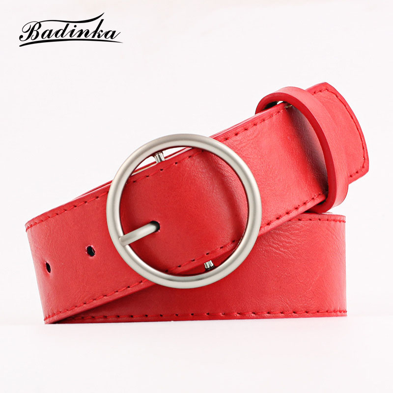 Badinka 2018 New Wide Black Red White Faux Pu Leather Belt Waistband Female Silver Round Circle Belts for Women Dresses Jeans