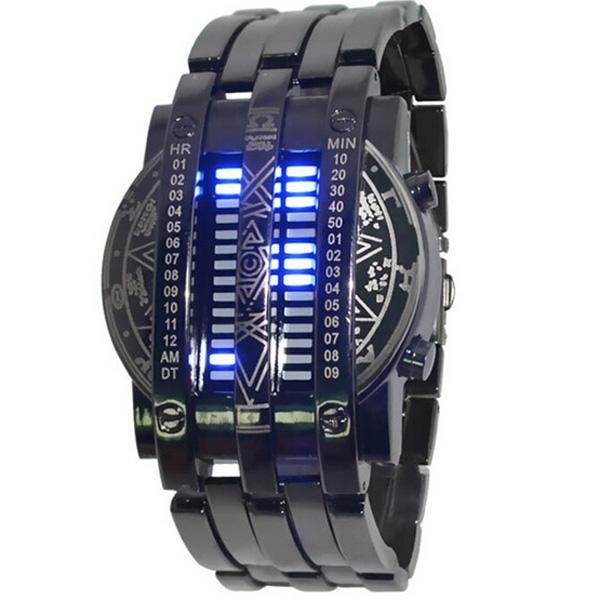 Prix pour Personnalité de la mode hommes pleins montre en acier bleu LED Binary militaire Bracelet montre de sport montre hommes montres cadeau Relogio