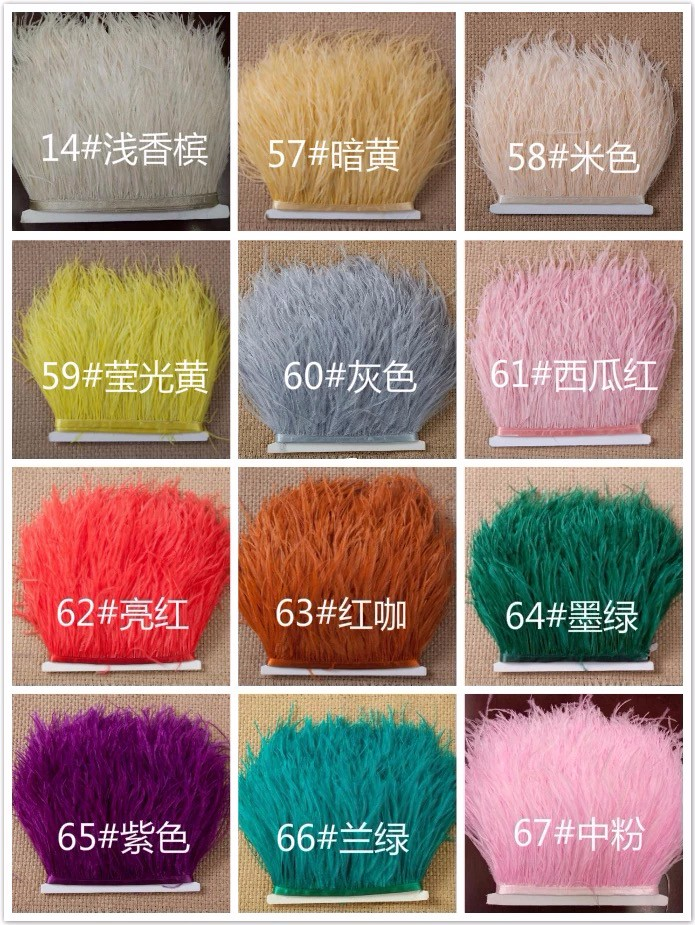 5yards/lots Multicolor Long Ostrich Feather Plumes Fringe trim 10-15cm Feather Boa Stripe for Party Clothing Accessories Craft